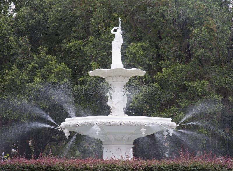 Forsythe Park Fountain, Savannah, GA stock photo