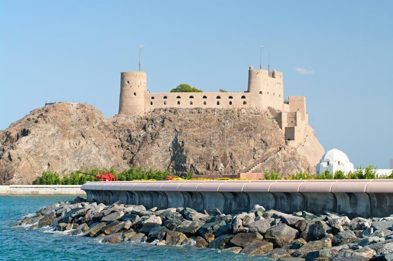 Fort al-Jalali in Muscateldruif, Oman stock afbeelding