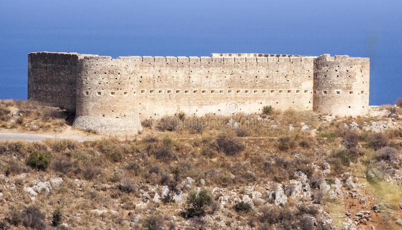 Fort at Aptera, Crete. View of fort at Aptera, Crete from public baths area royalty free stock image