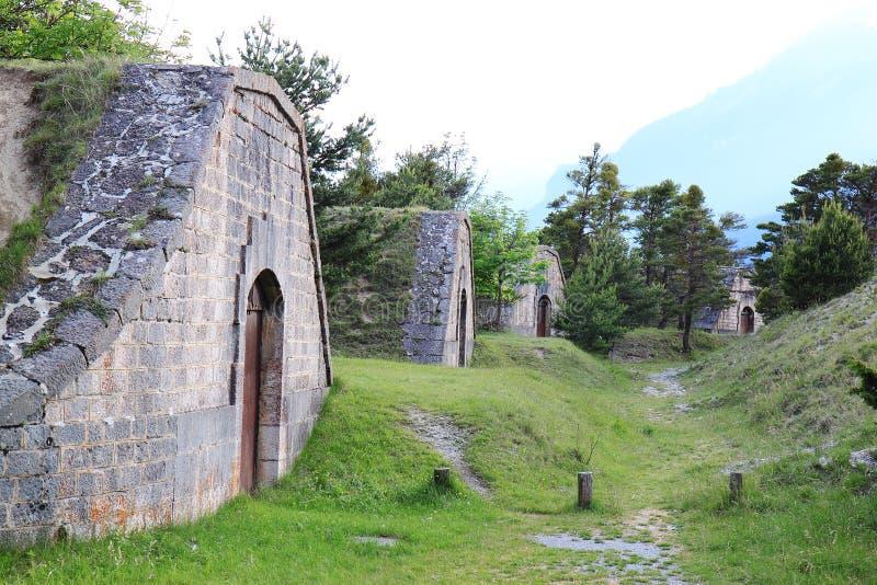 Fort av Mont-Dauphinen, pulvertidskrifter, Hautes Alpes, Frankrike arkivfoto