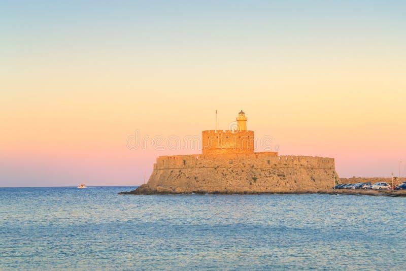 Fort av St Nicholas, Rhodes - Grekland royaltyfri bild