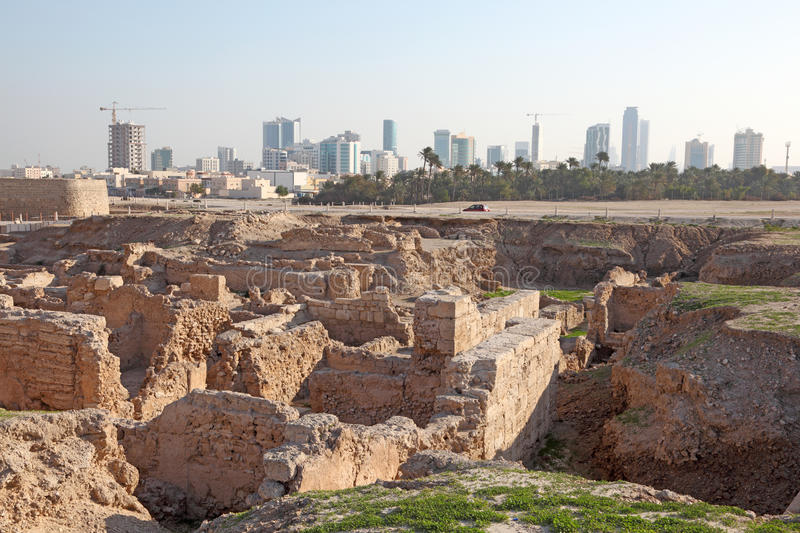 Fort of Bahrain ruin in Manama, Bahrain. Qal'at al-Bahrain Site Museum (Fort of Bahrain) in Manama, Bahrain, Middle East royalty free stock image