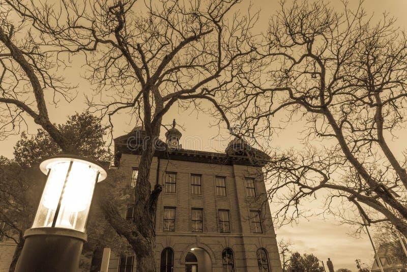 Fort Bend县法院大楼晚冬 库存照片