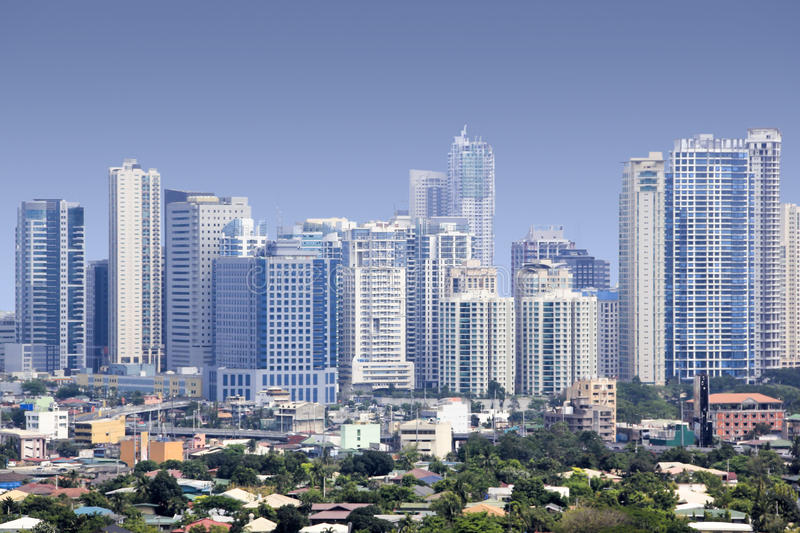 Fort bonifacio skyscrapers manila skyline philippines. High rise condominiums and offices of fort bonifacio BGC modern financial and business district of metro stock images