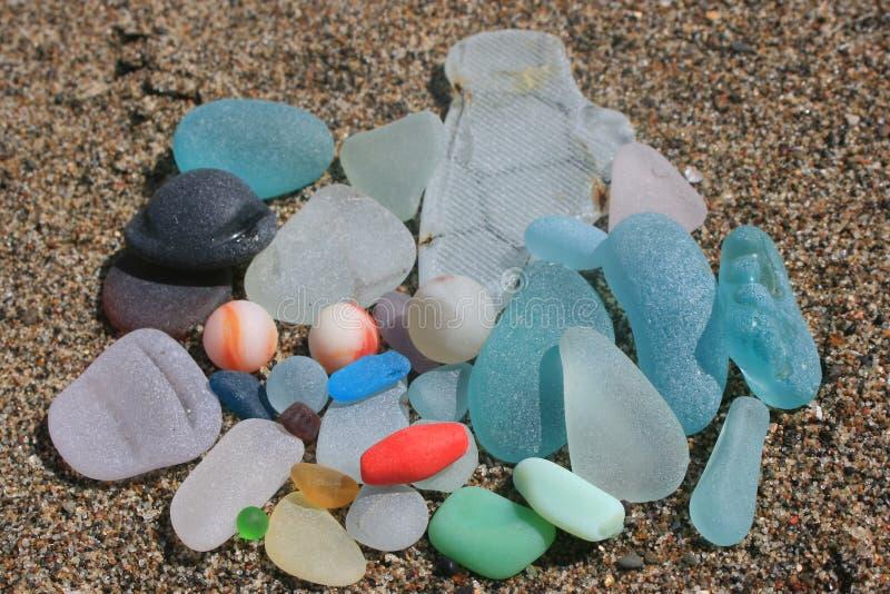 Fort Bragg California Sea Glass Marbles royalty-vrije stock afbeeldingen