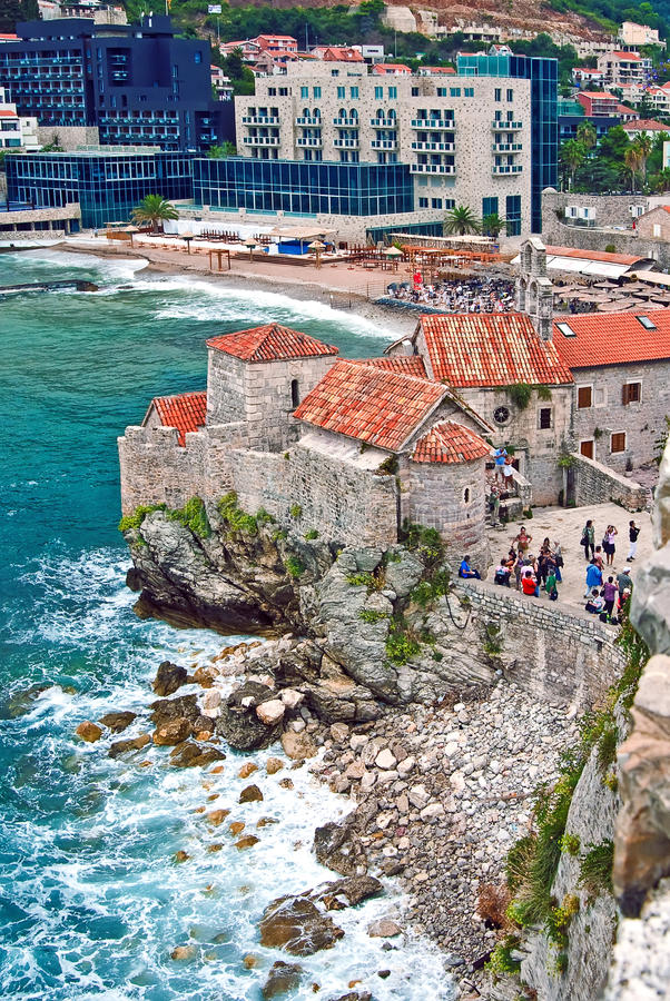 Fort in Budva, Montenegro. With the modern pard of the town at the background stock photography
