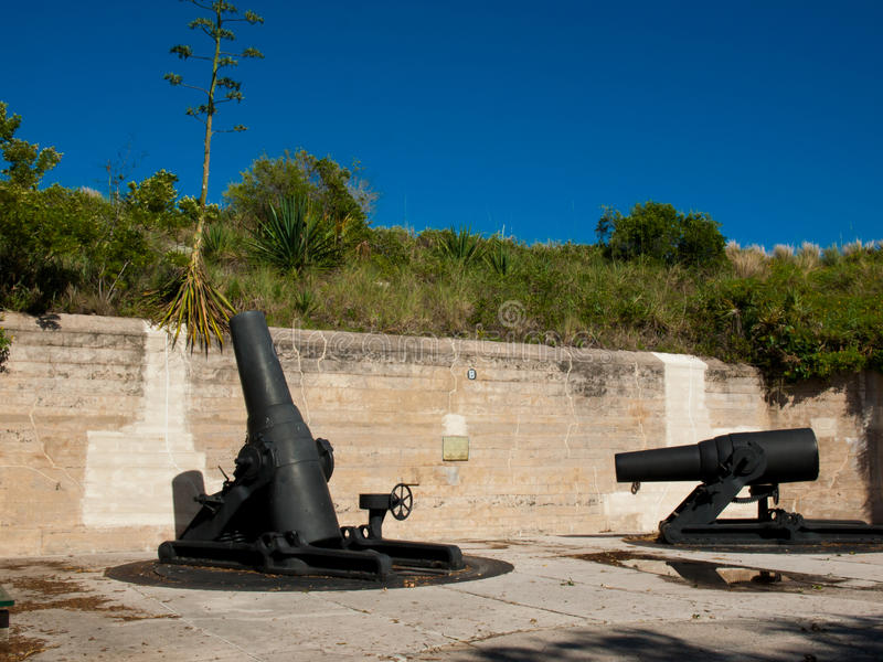Fort Cannons. Cannons at Fort Desoto Florida on the west coast stock photos