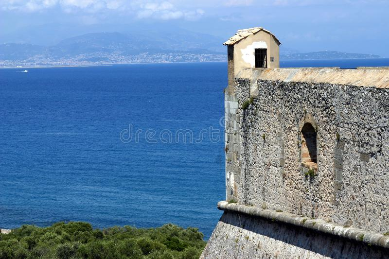Fort carre, Antibes, French Riviera. View from the top of the Fort carre, Antibes, French Riviera royalty free stock photography