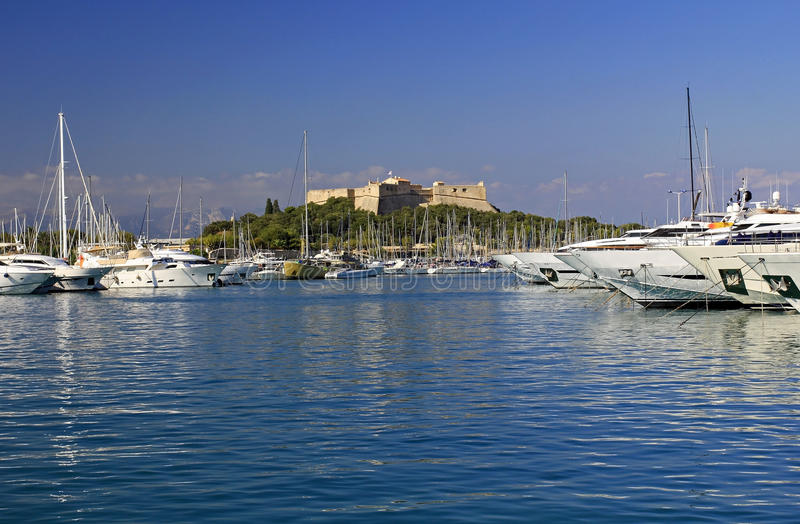 Fort Carre rising above Port Vauban, Antibes. The Riviera, on the Mediterranean Coast, South of France stock image
