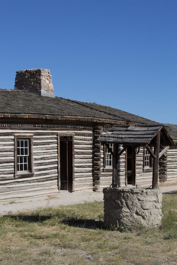 Fort Casper. Part of the reconstructed Fort Casper, Wyoming stock images