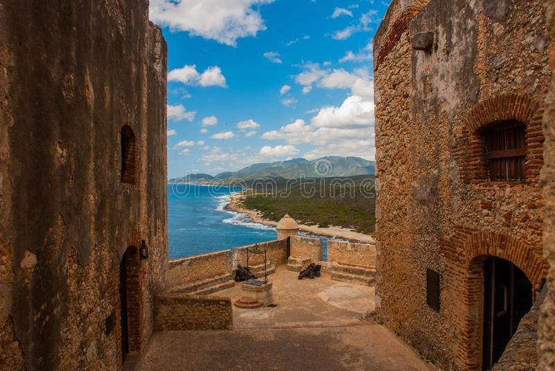 Fort Castillo del Moro, Santiago De Cuba, Cuba: From the walls of the bastions open incredible beauty views of the coastline of th royalty free stock photography