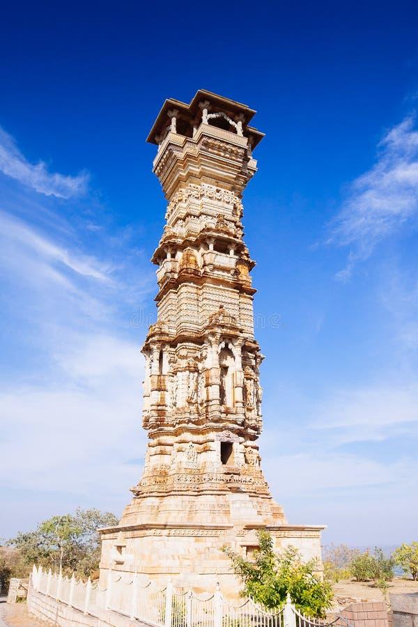 Fort Chittorgarh i Indien Rajasthan Kirti Stambha royaltyfri foto