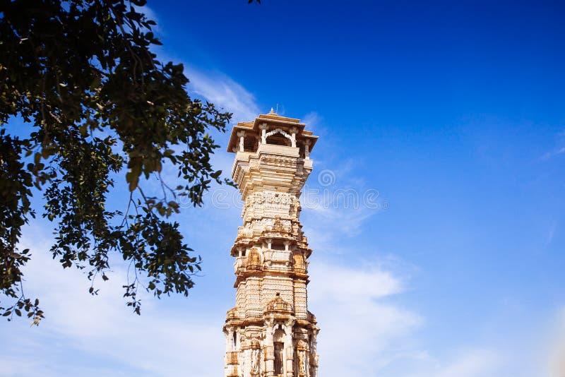 Fort Chittorgarh i Indien Rajasthan Kirti Stambha royaltyfri bild