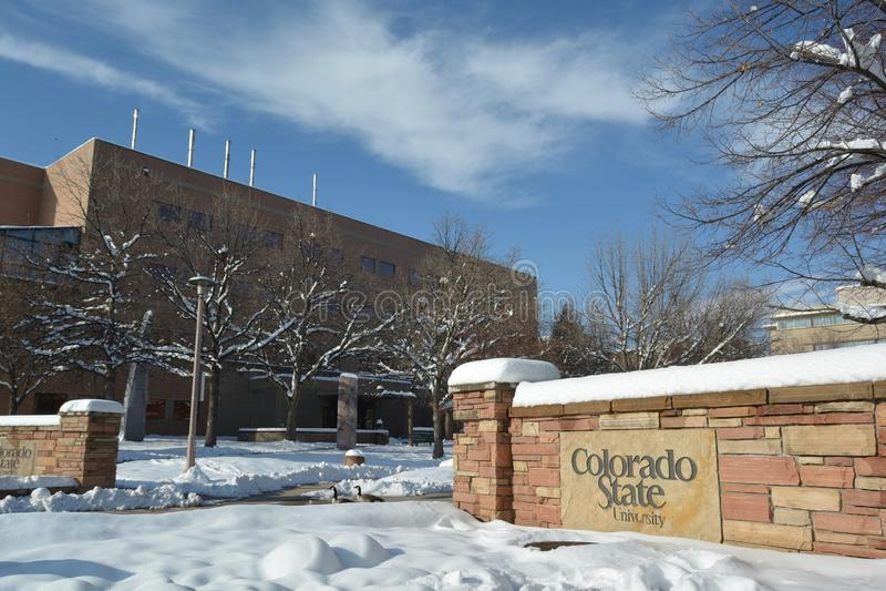 FORT COLLINS, COLORADO, USA - 28 november 2019: Colorado State University är en offentlig institution för landbidrag inom högre u royaltyfria foton