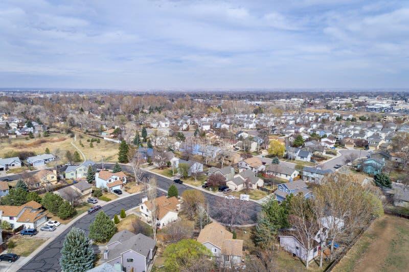 Fort Collins i tidig vår från luft royaltyfria foton