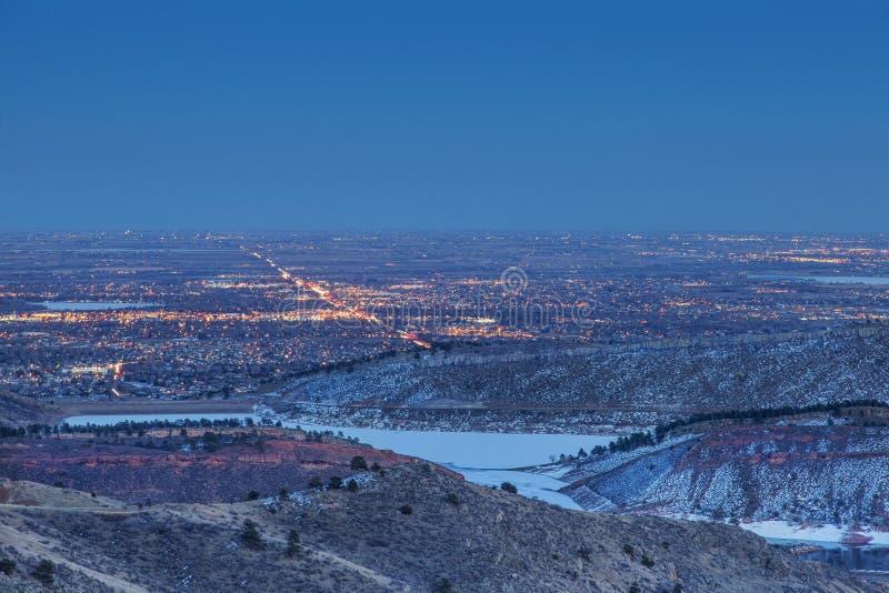 Fort Collins nightscape fotografering för bildbyråer