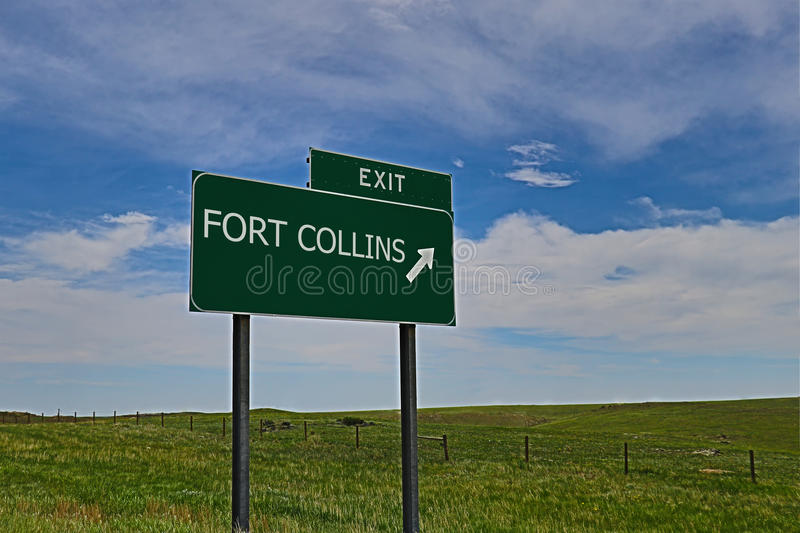 Fort Collins. US Highway Exit Sign for Fort Collins HDR Image royalty free stock images