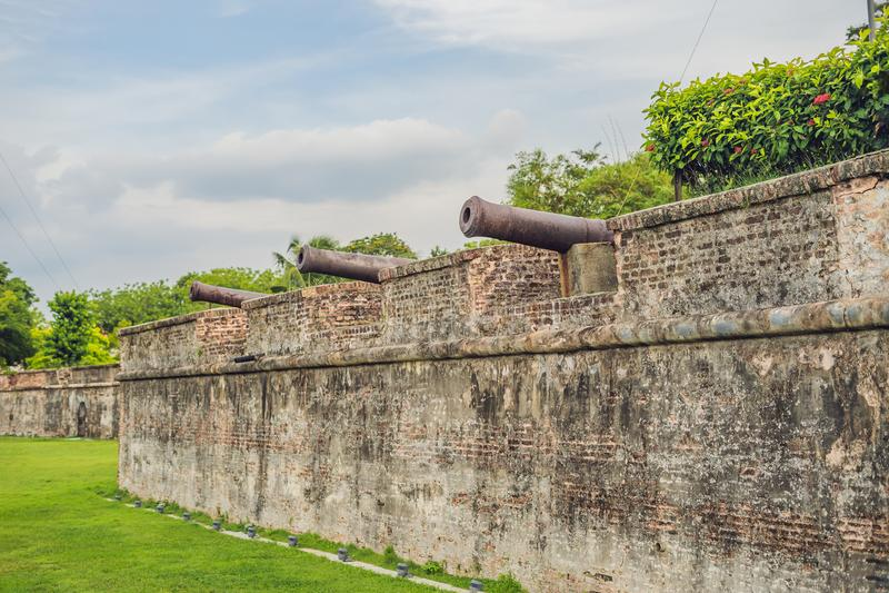 Fort Cornwallis w Georgetown, Penang, jest gwiazdowym fortem budującym Brytyjski Wschód India Firma w opóźnionym xviii wiek, ja j zdjęcia stock