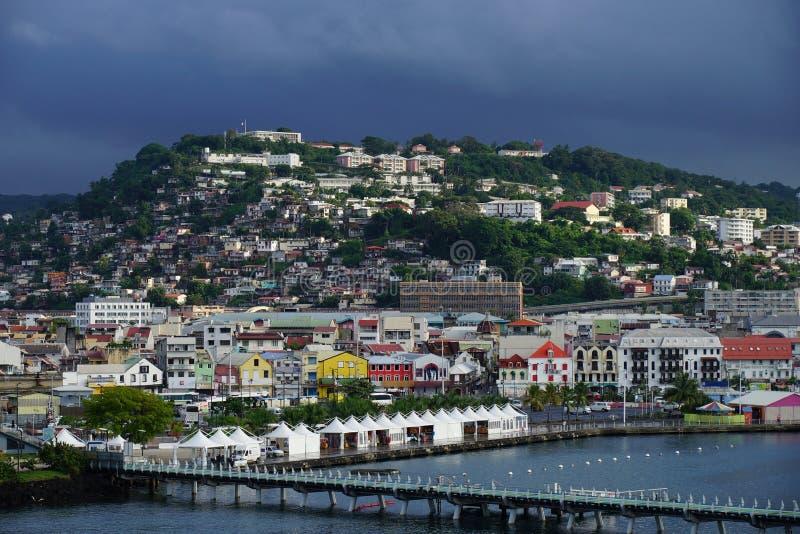 Fort-de-France, het Eiland van Martinique - Lesser Antilles, Frans gebied overzee stock afbeelding