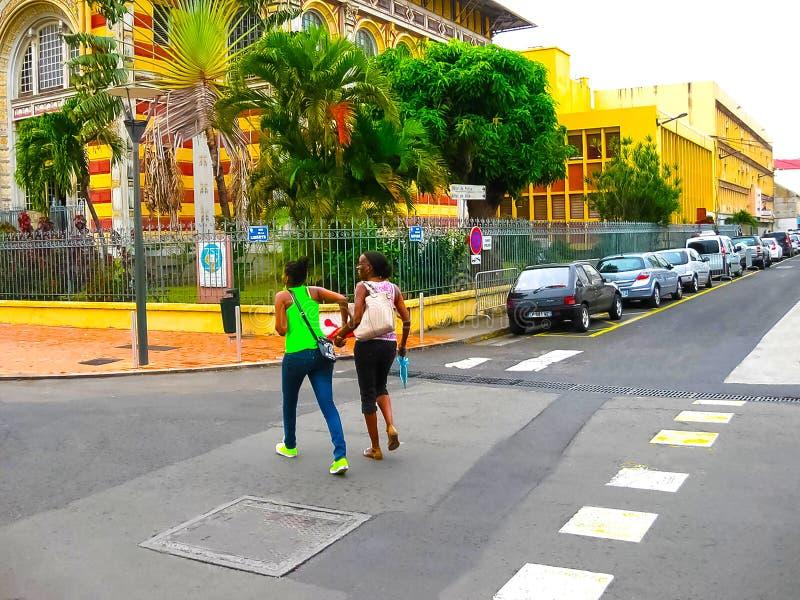 Fort-de-France Martinique - Februari 08, 2013: Det Schoelcher arkivet, denna byggnad restes upp först i Paris arkivbilder