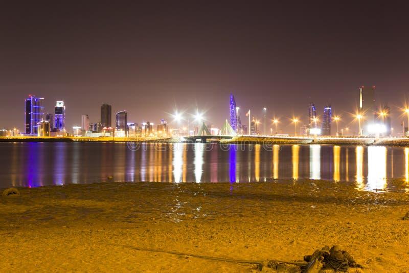 Fort de pêche du Bahrain la nuit photo libre de droits