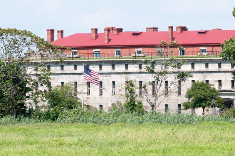 FORT DELAWARE, DELAWARE miasto, DE - SIERPIEŃ 1: Fortu Delaware stanu park, Historyczny Zrzeszeniowy Cywilnej wojny forteca który obraz royalty free