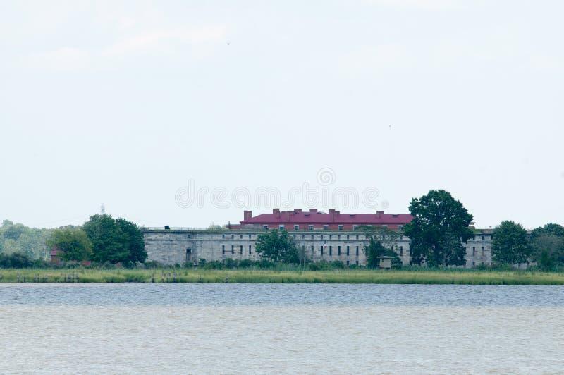 FORT DELAWARE, DELAWARE STADT, DE- 1. AUGUST: Fort-Staat Delaware-Park, historische Verbands-Bürgerkrieg-Festung, die unterbracht lizenzfreies stockbild