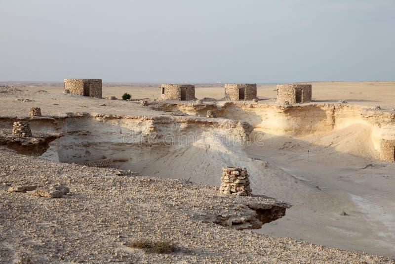 Fort in der Wüste von Katar stockfotografie
