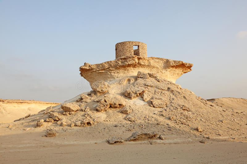 Fort in the desert of Qatar stock photos