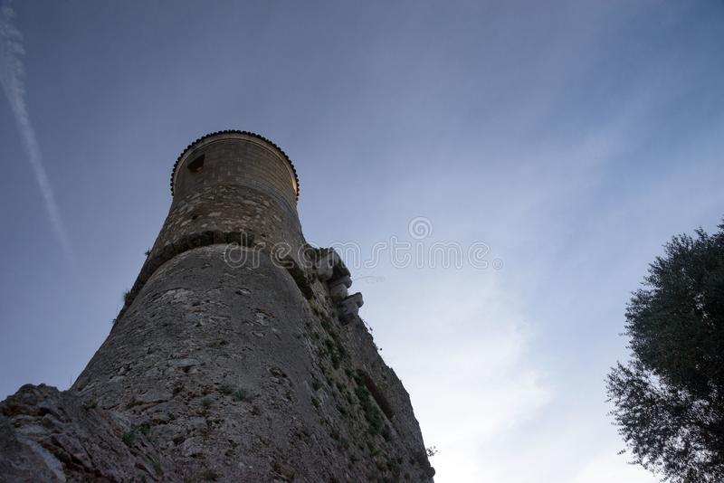 Fort du Mont Alban. Tower of famous fortress against blue sky, nice, france. Strengthen the protection of Nice from pirates and the Turkish fleet stock image