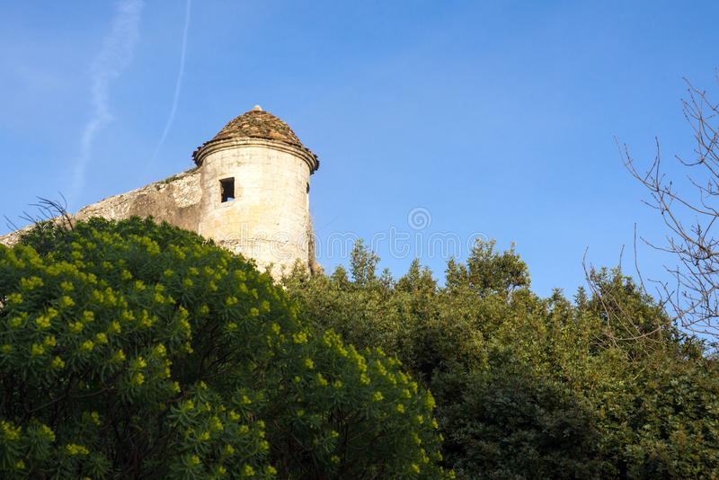 Fort du Mont Alban. Tower of famous fortress against blue sky, nice, france. Strengthen the protection of Nice from pirates and the Turkish fleet royalty free stock photo