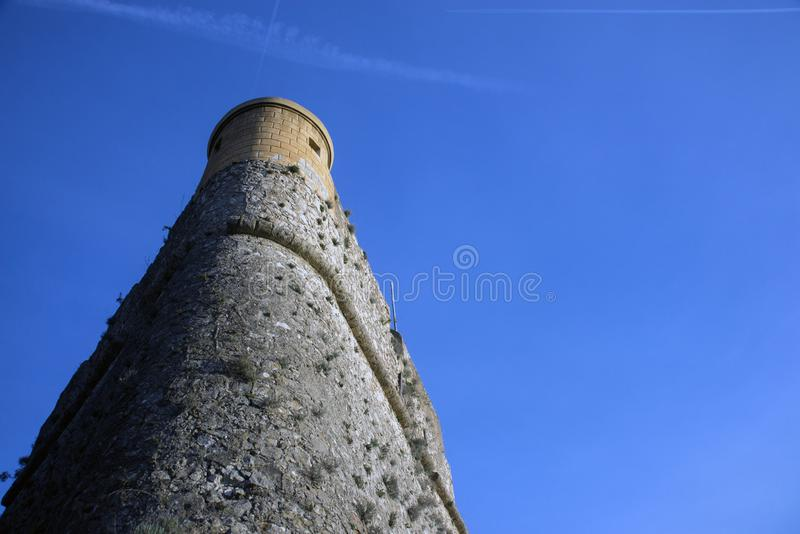 Fort du Mont Alban. Tower of famous fortress against blue sky, nice, france. Strengthen the protection of Nice from pirates and. The Turkish fleet royalty free stock photography