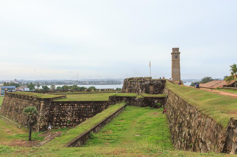 Fort Galle wall and clock tower from inside the fort - Sri Lanka royalty free stock photos