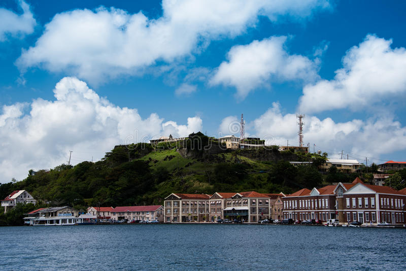 Fort George and careenage shops, Grenada royalty free stock photo