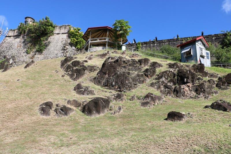 Fort George in St- George` s, Grenada stockbilder