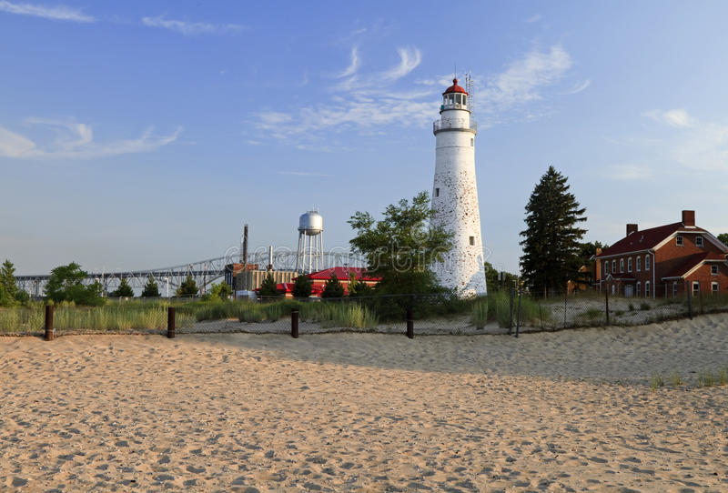 Fort Gratiot Summer. A day at the Beach - Fort Gratiot Lighthouse, Port Huron, Michigan, USA royalty free stock photos