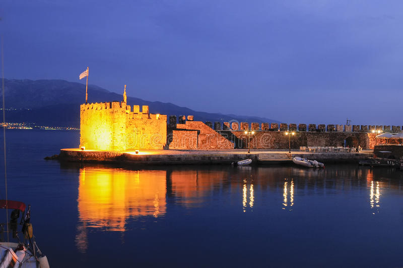 The fort harbor of Nafpaktos Greece. The fort harbor at Nafpaktos Greece with lights at night royalty free stock photography