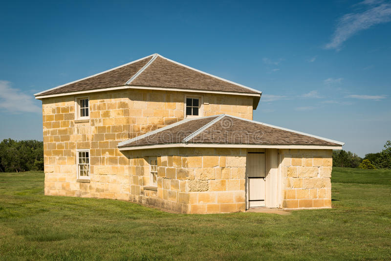 Fort Hays Blockhouse. Blockhouse at the Fort Hays State Historic Site in Hays, Kansas. This blockhouse was the first building constructed at Fort Hays and was royalty free stock images