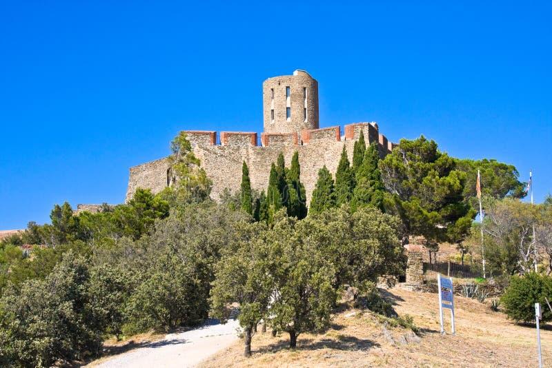 Fort Heilige Elme tussen Port-Vendres en Collioure, Middellandse-Zeegebied, de Pyreneeën Orientales, Roussillon, Frankrijk stock foto's