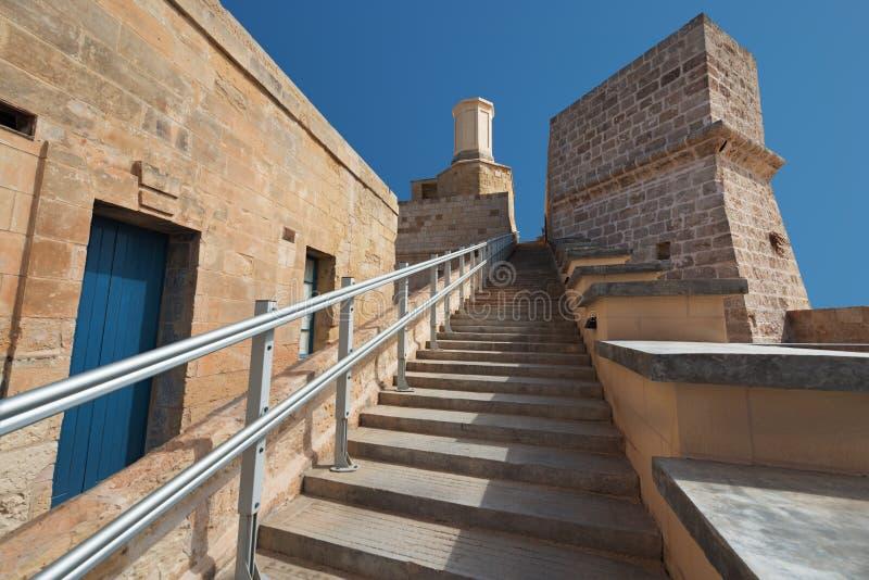 Fort-Heiliges Angelo Malta Treppe zum Ferramolino-` s Kavalier stockfoto