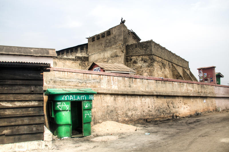 Fort of Jamestown in Accra, Ghana. The old slave fort on the hill in Jamestown in Accra, Ghana at the Gulf of Guinea stock images