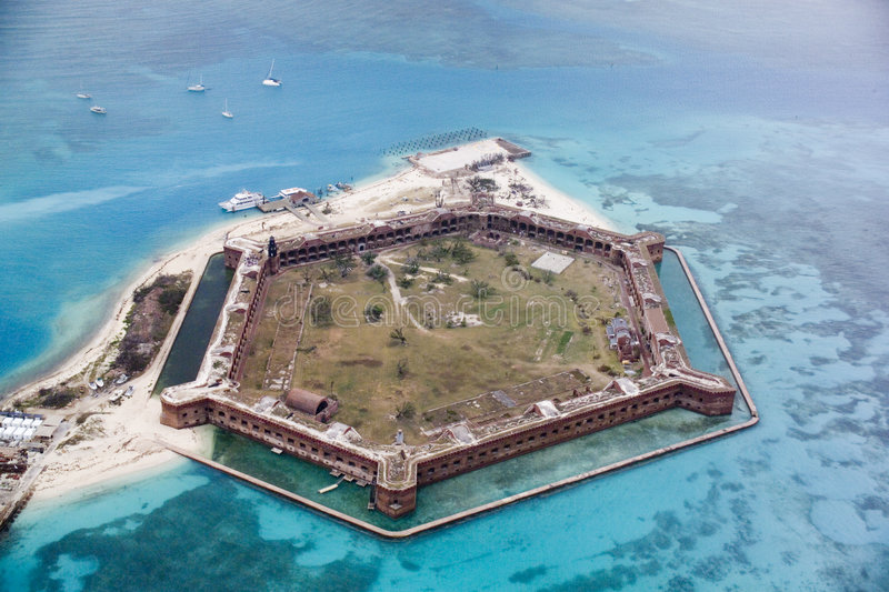 Fort Jefferson, Dry Tortugas, Florida from the northeast stock image