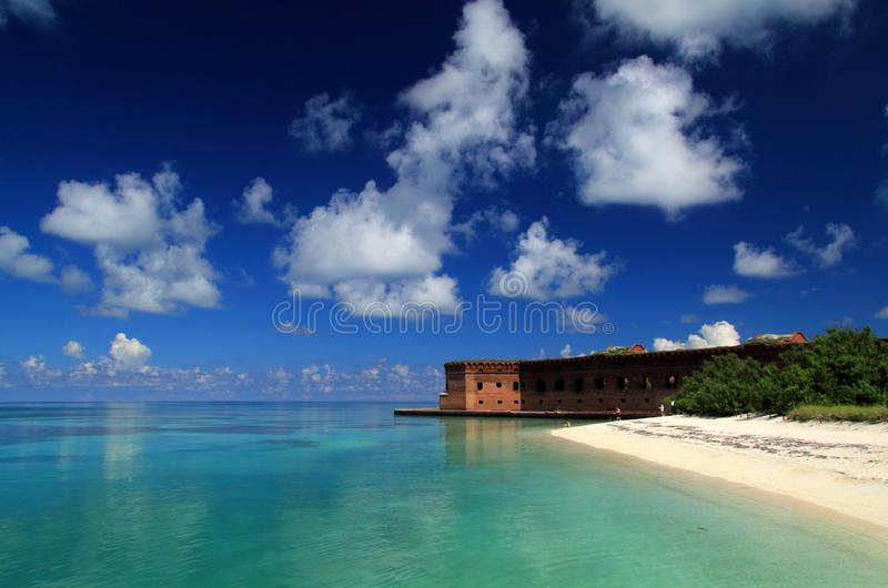 Fort Jefferson in the Dry Tortugas. Located on Garden Key in Dry Tortugas National Park, Fort Jefferson is perhaps the most isolated and intricately built of all stock photos