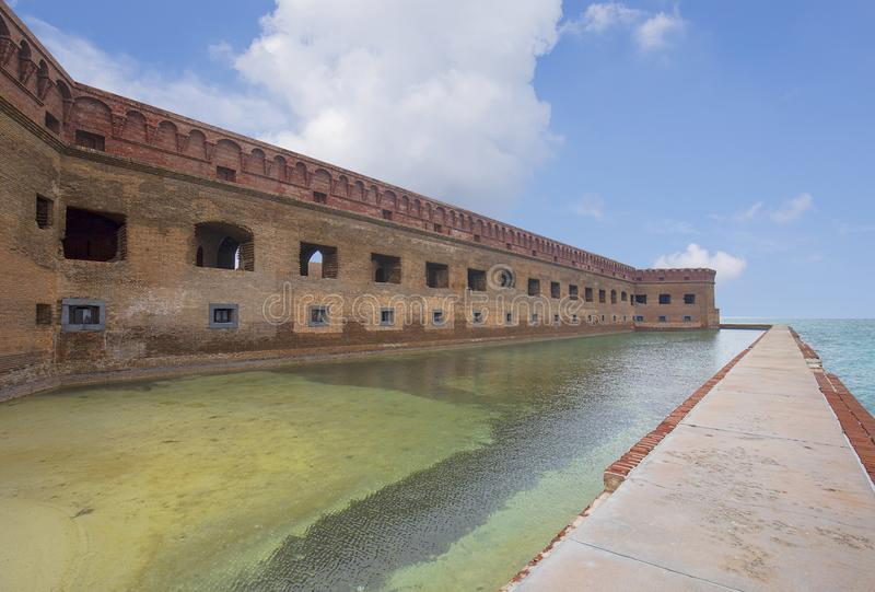 Fort Jefferson Facade, Dry Tortugas. The Facade Front number 2 on Gulf side, at Fort Jefferson, one of three longer fronts stock images