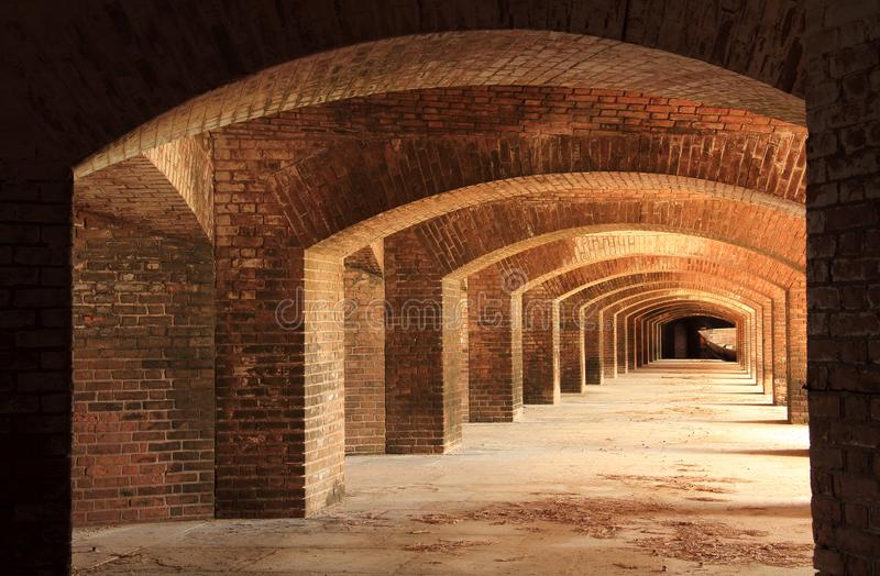 Fort Jefferson Interior, Dry Tortugas National Park, Florida Keys. Located on Garden Key in Dry Tortugas National Park, Fort Jefferson is perhaps the most royalty free stock photos