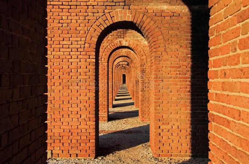 Fort Jefferson Interior, Dry Tortugas National Park, Florida Keys. Located on Garden Key in Dry Tortugas National Park, Fort Jefferson is perhaps the most royalty free stock photography
