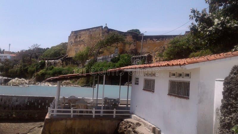Fort Jesus, Mombasa Kenia, de Historische oude die bouw in 1593 door de Portugees wordt geconstrueerd royalty-vrije stock fotografie