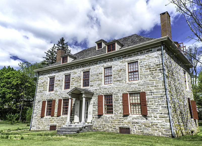Fort Johnson. Home of Sir William Johnson and built in 1749. The fort is located between Amsterdam and Johnstown, New York stock photos