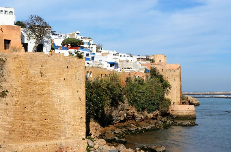 Fort of Kasbah of the Udayas and Bou Regreg river. Rabat, Morocco - December 26, 2015: Fort of Kasbah of the Udayas and Bou Regreg river stock images