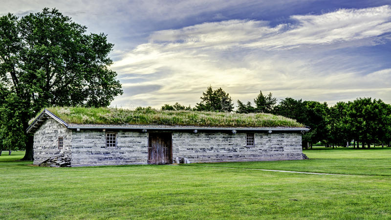 Fort Kearney Nebraska main building with sod roof. Main living quarters at a fort in Nebraska royalty free stock images